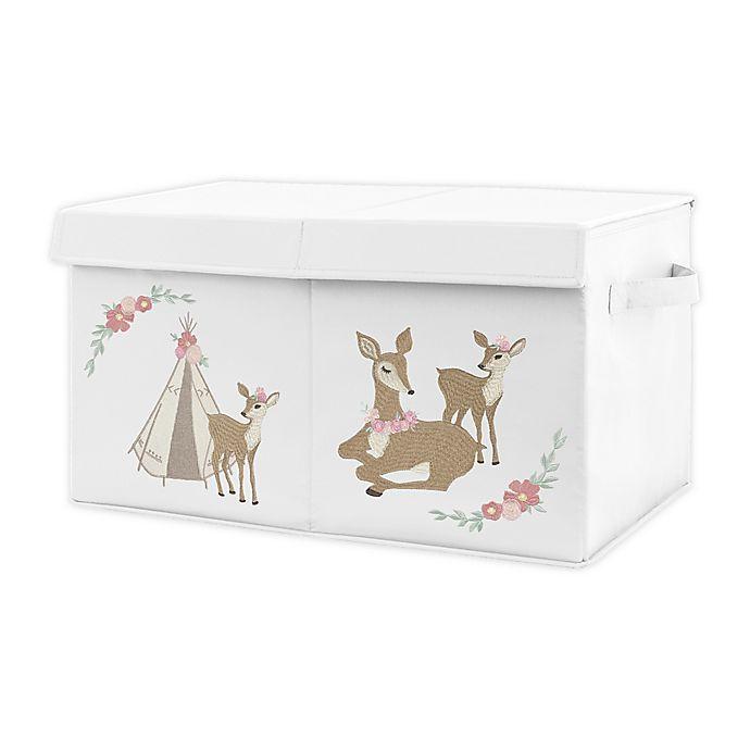 Alternate image 1 for Sweet Jojo Designs Floral Deer Toy Bin in Pink/Mint