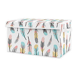Sweet Jojo Designs Feather Toy Bin in Coral/Turquoise