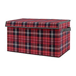 Sweet Jojo Designs Rustic Plaid Toy Bin in Red/Black