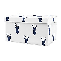 Sweet Jojo Designs Woodland Deer Toy Bin in Navy Blue/White