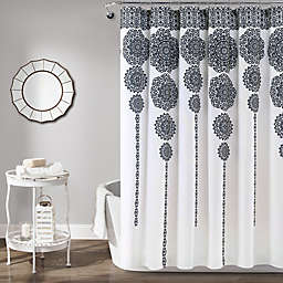 Lush Décor 72-Inch x 72-Inch Stripe Medallion Shower Curtain