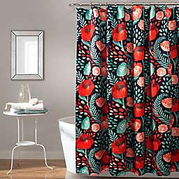 Lush Décor 72-Inch x 72-Inch Poppy Garden Shower Curtain in Navy/Red