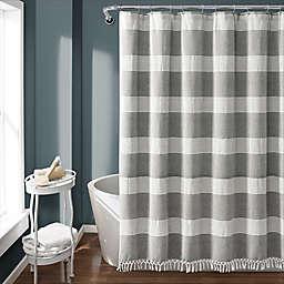 Lush Décor 72-Inch x 72-Inch Tucker Stripe Tassel Shower Curtain