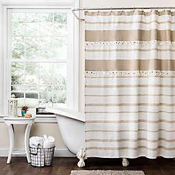 72-Inch x 96-Inch Malaika Stripe Shower Curtain in Tan/White