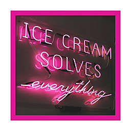"""PTM Images """"Ice Cream Solves Everything"""" 22-Inch Square Framed Wall Art"""