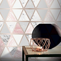 Arthouse Marble Geo Wallpaper in Pink/White