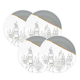 Harry Potter™ Hogwarts Salad Plate Set in Grey/Gold (Set of 4)