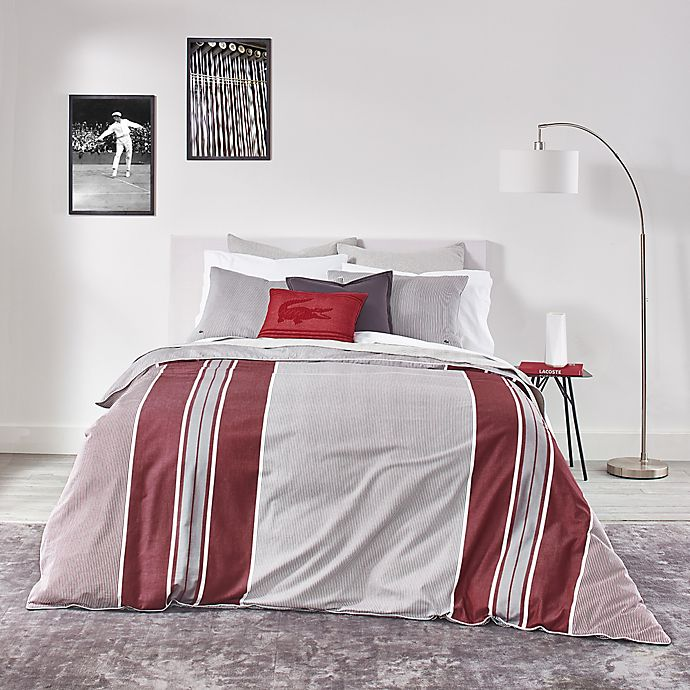 Alternate image 1 for Lacoste Pinstripe 2-Piece Reversible Twin/Twin XL Duvet Cover Set in Grey/Red