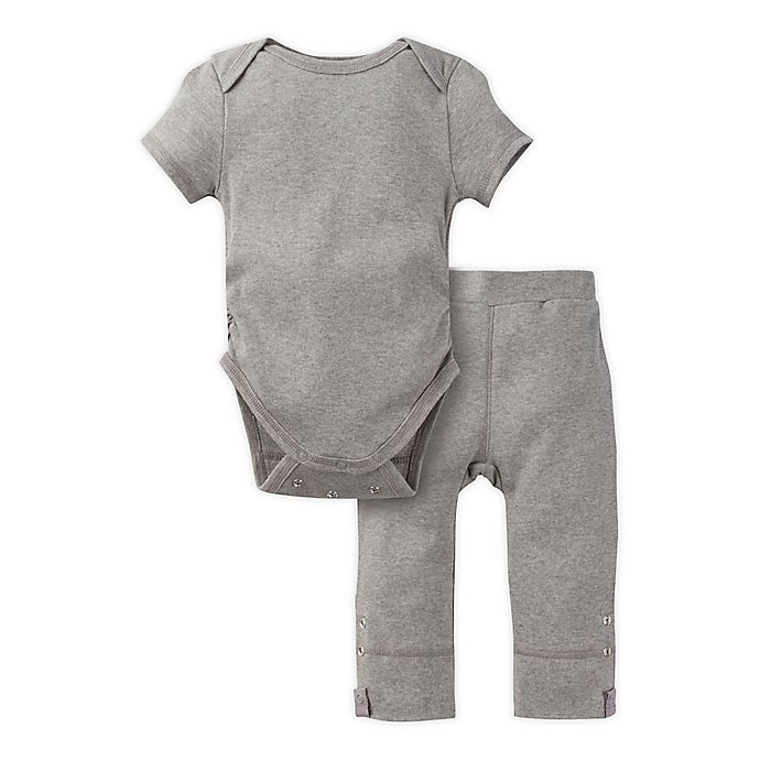 Alternate image 1 for MiracleWear Posheez 2-Piece Snap'n Grow Bodysuit and Pant Set in Grey