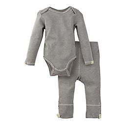 MiracleWear Posheez Size 6-12M 2-Piece Snap'n Grow Long Sleeve Bodysuit and Pant Set in Grey