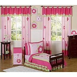 Sweet Jojo Designs Flower Toddler Bedding Collection in Pink/Green