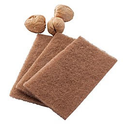 Full Circle Walnut Shell Scour Pads in Brown (Set of 3)