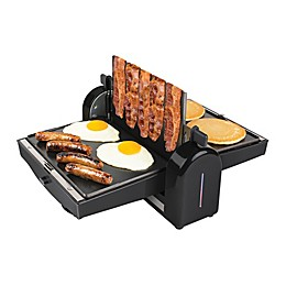 HomeCraft Nonstick Electric Bacon Press & Griddle in Black