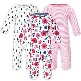 Touched by Nature 3-Pack Floral Organic Cotton Coveralls in Pink