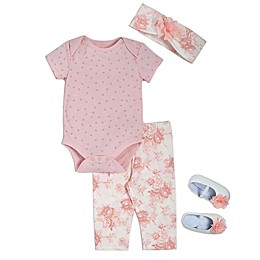 Kyle & Deena 4-Piece Floral Bodysuit, Headband, Legging, and Shoe Set in Peach