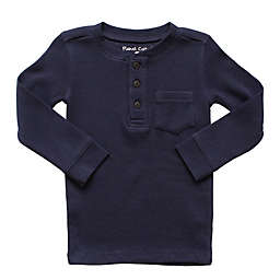 Planet Cotton® Crew Neck Long Sleeve Size 2T Thermal Henley T-Shirt with Pocket in Navy