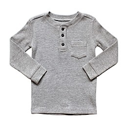 Planet Cotton® Crew Neck Long Sleeve Thermal Henley T-Shirt with Pocket