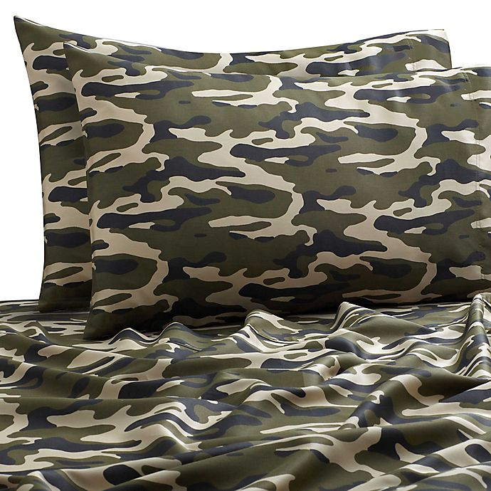 Alternate image 1 for SALT™ Camo 300-Thread-Count Twin/Twin XL Sheet Set in Green