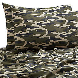SALT™ Camo 300-Thread-Count Full/Full XL Sheet Set in Green