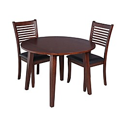 TTP Furnish Armstrong 3-Piece Round Dining Set in Espresso