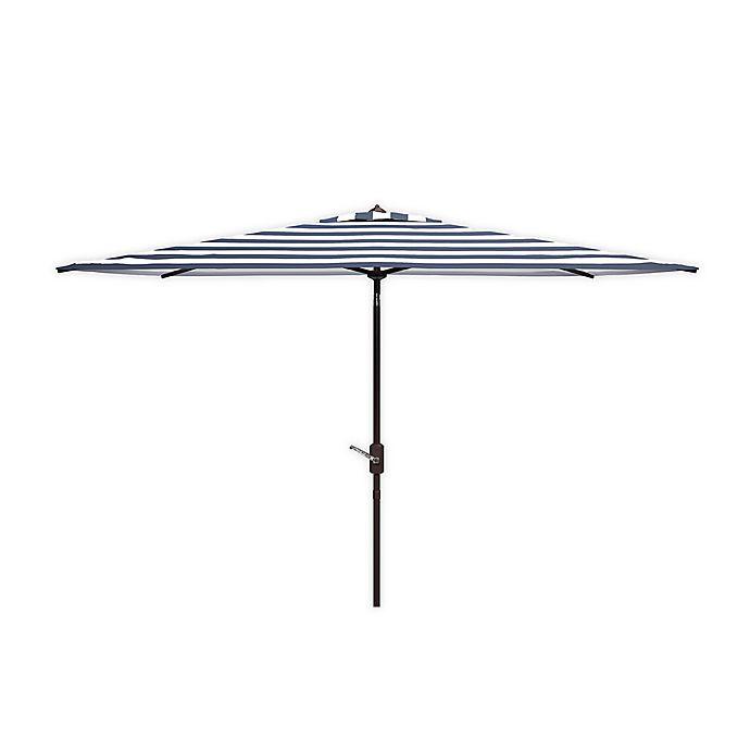 Alternate image 1 for Safavieh Iris Fashion Line 9-Foot Rectangular Striped Patio Umbrella