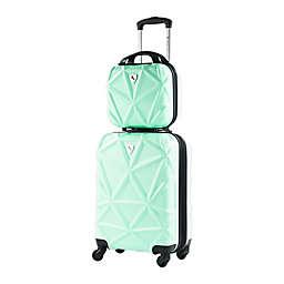 AMKA Gem 2-Piece Hardside Spinner Carry-On Cosmetic Luggage Set