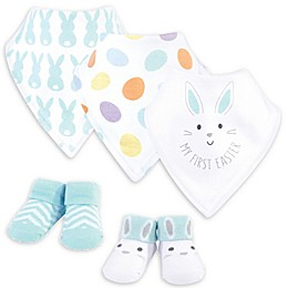 Hudson Baby® Newborn 5-Piece Easter Bib and Sock Set in Blue/White