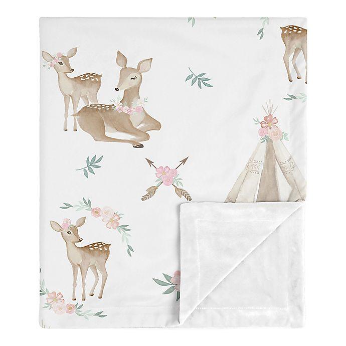 Alternate image 1 for Sweet Jojo Designs Deer Floral Security Blanket in Pink/Mint