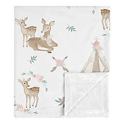 Sweet Jojo Designs Deer Floral Security Blanket in Pink/Mint