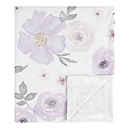 Sweet Jojo Designs Watercolor Floral Security Blanket in Lavender/Grey