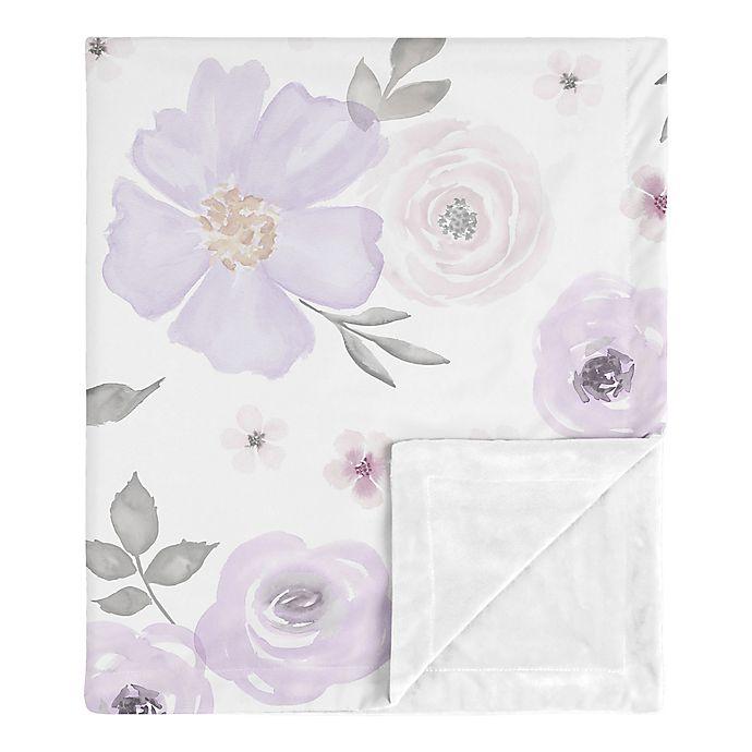 Alternate image 1 for Sweet Jojo Designs Watercolor Floral Security Blanket in Lavender/Grey