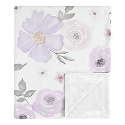 Sweet Jojo Designs Watercolor Floral Security Blanket in Lavender/Grey