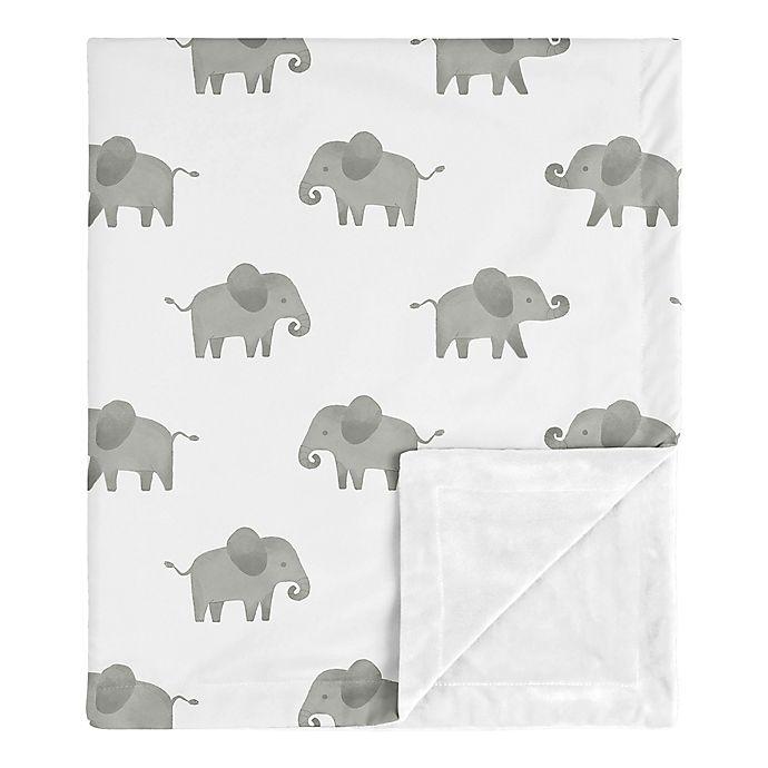 Alternate image 1 for Sweet Jojo Designs® Elephant Security Blanket in Grey/White