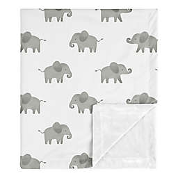 Sweet Jojo Designs Elephant Security Blanket in Grey/White