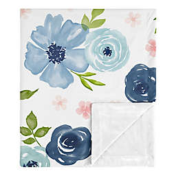 SWEET JOJO DESIGNS Watercolor Floral Security Blanket in Blue/Pink