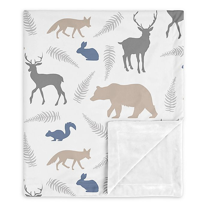 Alternate image 1 for SWEET JOJO DESIGNS Woodland Animals Security Blanket in Grey/White