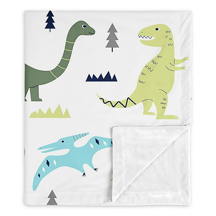 Alternate image 1 for SWEET JOJO Designs Dinosaur Security Blanket in Blue/Green