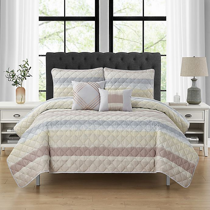Alternate image 1 for Cranton 5-Piece Striped Quilt Set
