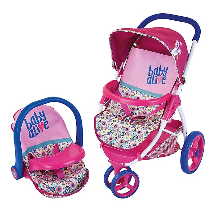 Alternate image 1 for Hauk Baby Alive Baby Doll Travel Stroller Car Seat