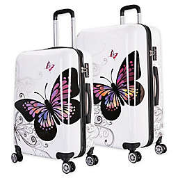 InUSA Prints Butterfly Hardside Spinner Checked Luggage