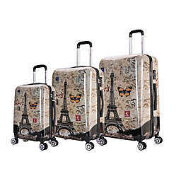 InUSA Prints Paris 3-Piece Hardside Spinner Luggage Set