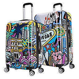InUSA Prints Hollywood Hardside Spinner Checked Luggage