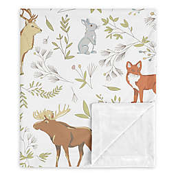 Sweet Jojo Designs Woodland Toile Security Blanket in Grey/Blue