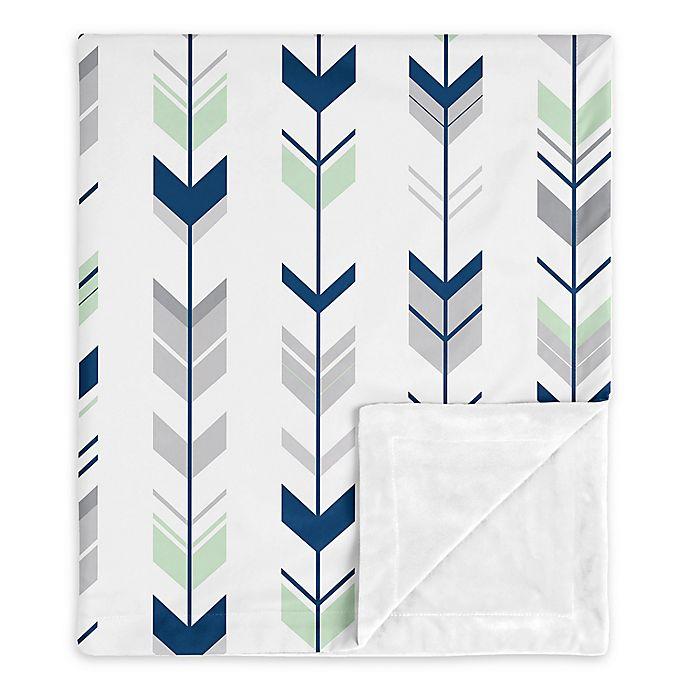 Alternate image 1 for Sweet Jojo Designs Navy Woodsy Security Blanket in Blue/Mint