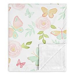 Sweet Jojo Designs Butterfly Floral Security Blanket in Pink/Mint