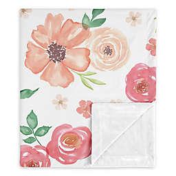 Sweet Jojo Designs Watercolor Floral Security Blanket in Peach/Green