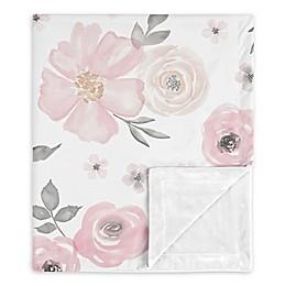 Sweet Jojo Designs Watercolor Floral Security Blanket in Pink/Grey