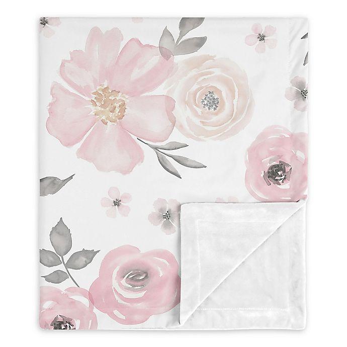 Alternate image 1 for Sweet Jojo Designs Watercolor Floral Security Blanket in Pink/Grey
