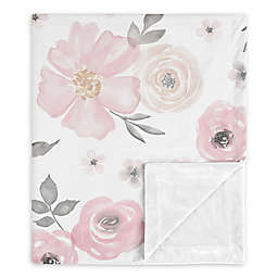 Sweet Jojo Designs Watercolor Floral Security Blanket in Pink/Grey