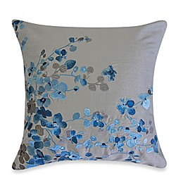 Hycroft Embroidered Square Toss Pillow in Grey/Blue